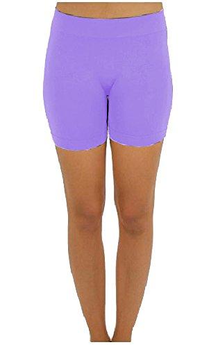 Elegant4U Junior's Lavender No Pinching Seamless Performance Comfy Moisture Wicking Shapewear Mini Shorts
