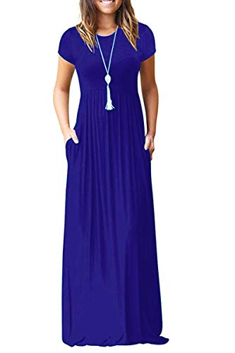 AUSELILY Women Short Sleeve Loose Plain Casual Long Maxi Dresses with Pockets (L, Royal -