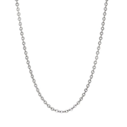 1.5mm Durable Solid Stainless Steel Smooth Cable Link Chain Necklace, 18 inches + Jewelry Polishing Cloth