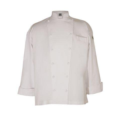 San Jamar J016 Cotton Cuisinier Long Sleeve Chef Jacket with Cloth Covered Button, 5X-Large, White by San Jamar