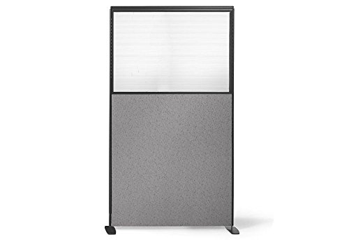 Partial Plexiglass Freestanding Panel - 36''W x 66''H Pewter Haze Fabric/Charcoal Paint Dimensions: 36''W x 2.25''D x 66''H Weight: 60 lbs by Harmony