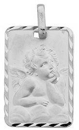 Diamantly - Médaille Gris Ange Carré - or Gris 375/1000 (9 Carats) - Unisex - Enfant -Bebe-Adulte