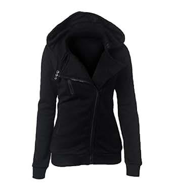 Mogogo Women's Solid Casual Fleece Zip Long Sleeve Hoode Pocket Outwear Jacket Black 2XL