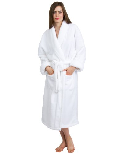 TowelSelections Women's Super Soft Plush Bathrobe Fleece Spa Robe Small/Medium White