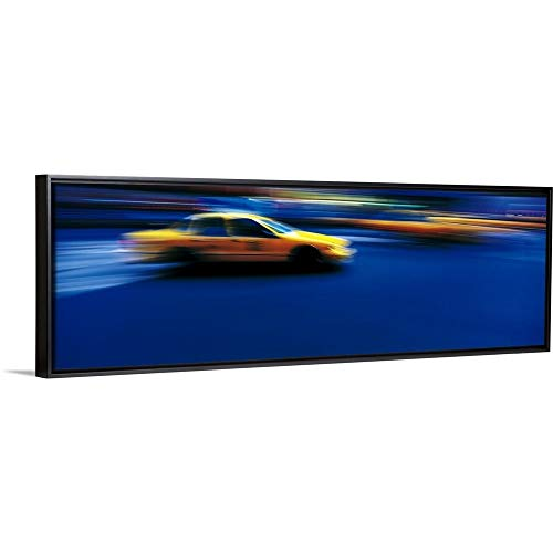 Floating Frame Premium Canvas with Black Frame Wall Art Print Entitled Yellow Cabs New York NY ()