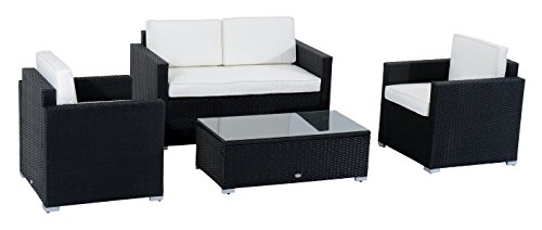 (Outsunny Modern 4 Piece Cushioned Outdoor Rattan Wicker Sofa Sectional Patio Conversation Furniture Set)