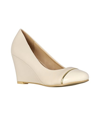 KRISP Womens Plain Wedge Court Shoes Low Mid High Heel Slip On Pumps Office Beige (5062) KdXNw5IxH3