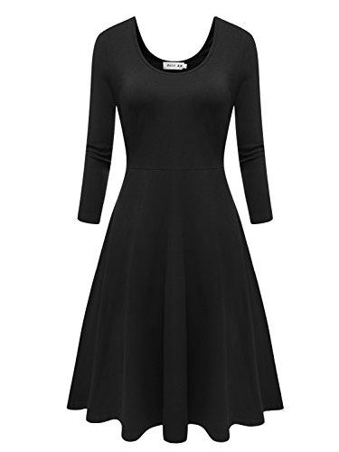 Buy black 3 4 sleeve midi dress - 2