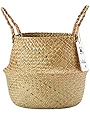 Brainy Living Hand-woven Pot-belly Basket With Natural Seagrass For Indoor Storage Of Groceries And Toys, Plant Tray Baskets And Picnic Baskets, Laundry Baskets