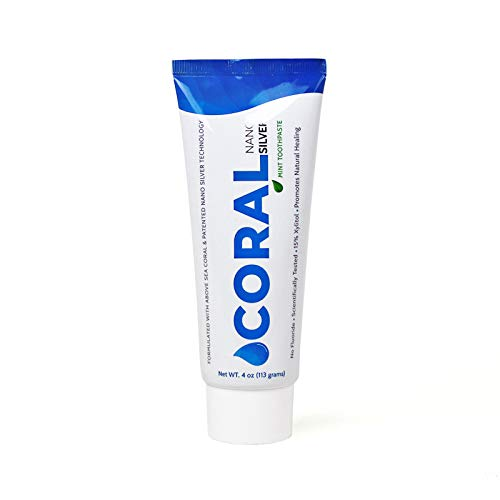 Tooth Coral - Coral White Nano Silver Mint Toothpaste, Natural Fluoride Free Teeth Whitening Toothpaste, Coral Calcium Nano Silver Infused SLS Free (1 Pack)
