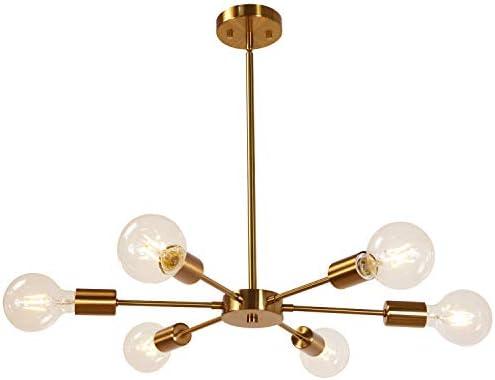 MELUCEE Modern Sputnik Chandelier 6 Lights Brass Chandelier Semi Flush Mount Ceiling Light Mid Century Pendant Light