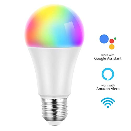 Smart Light Bulb, 7W WiFi Alexa Led Smart Bulbs 60W Equivalent and RGBW Color Changing, Control by Phones/Voice Control Compatible with Alexa, Echo, Google Home and IFTTT (No Hub Required)