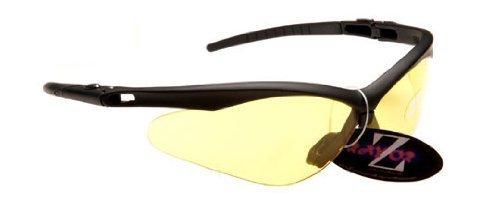 Rayzor professionnel léger UV400 Noir Sport Wrap PÊCHE Lunettes de soleil, avec une lumière Améliorer Clair Jaune anti-reflet lentille.