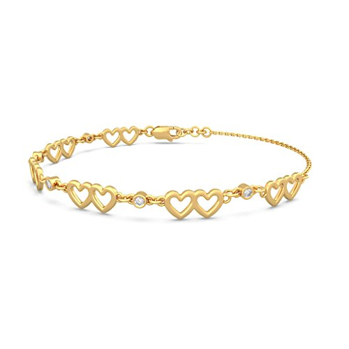Or jaune 18 K, 0.16 CT TW Round-cut-diamond (Ij| SI) Identification-bracelets