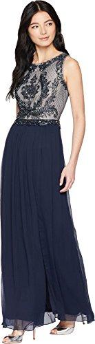 Adrianna Papell Women's Petite Beaded Sleeveless Long Dress with Full Skirt, Midnight/Silver, 6P ()