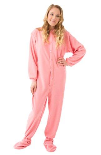 - Big Feet PJs Pink Micro-Polar Fleece Adult Footed Pajamas with Drop Seat (XS)
