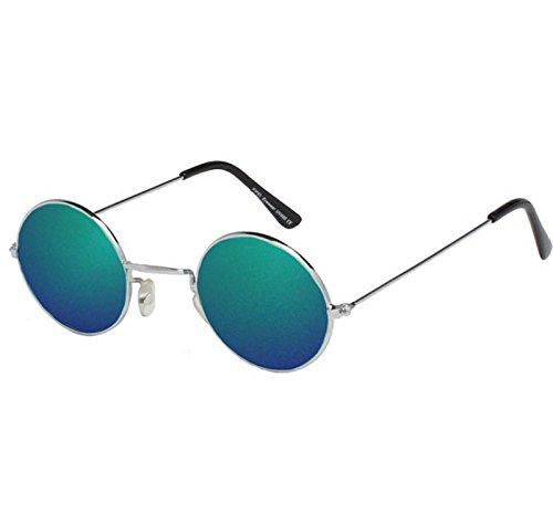 soleil qualité NEUF Lunettes de Unisexe argenté type vertes Lennon John rond haute avec lentilles de Cadre wUqY6A4