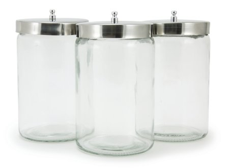 NMcKesson Medi-Pak Unlabeled Glass Sundry Jars - Flint Glasas - Stainless Steel Lid 7x4.25 (Case of 6)