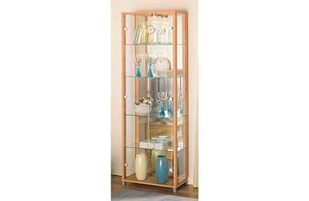 Double Glass Door Display Cabinet Beech Effect Amazon