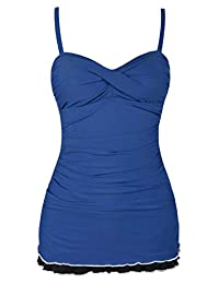 Hilor Women's Retro Plus Size Pin UP Ruched Skirted Polka Dots Monokini Swimsuit