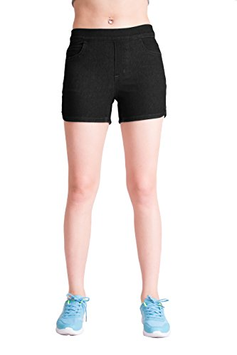 Cozy Blue -Black Short Super Stretch Knit Denim for Women XL (Denim Pocket Shorts Stretch)