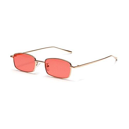 Marca para de de Hembra de Gafas Sol Mujer de Pequeño Transparentes Cuadrado de Lentes Burenqi Aleación Rojo Moda Marco D Tamaño E Gafas Sol de Negro xnwAqnZRO7