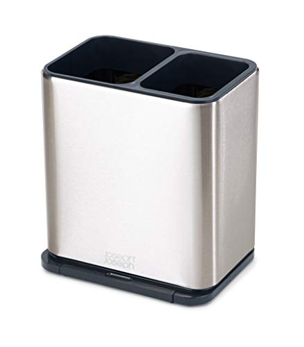 Joseph Joseph 85161 Surface Utensil Holder with Removable Spoon Rest Easy-Clean for Long-Handled Tools, One-Size, Stainless Steel/Dark Gray
