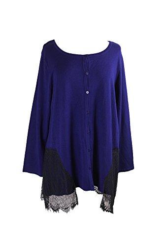 Alfani Womens Lace Long Sleeves Cardigan Sweater Navy M