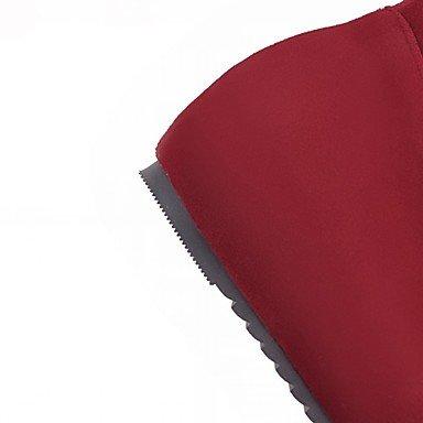 Moda In Rotondo Per Scarpa Al Stivali Con Casual Ginocchio Tacco Donna Autunno Red Punta Fiocco Piatto Da amp; Alti Carriera Rosso Inverno Ufficio Desy TwvxYtqFw
