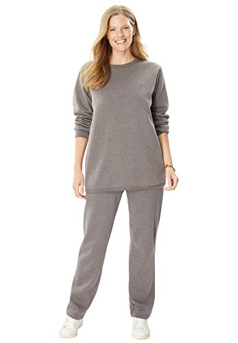(Woman Within Women's Plus Size Fleece Sweatsuit - Medium Heather Grey,)