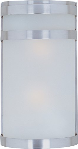 Maxim 5002FTSST Arc 2-Light Outdoor Wall Sconce Lantern, Stainless Steel Finish, Frosted Glass, MB Incandescent Incandescent Bulb , 60W Max., Dry Safety Rating, Standard Dimmable, Glass Shade Material, Rated Lumens