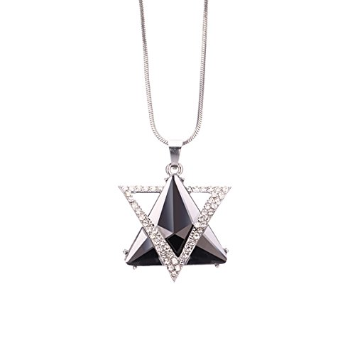 (Gexo Long Necklace for Women Crystal Two Triangle Star Silver Sweater Pendant Necklace Fashion Jewelry)