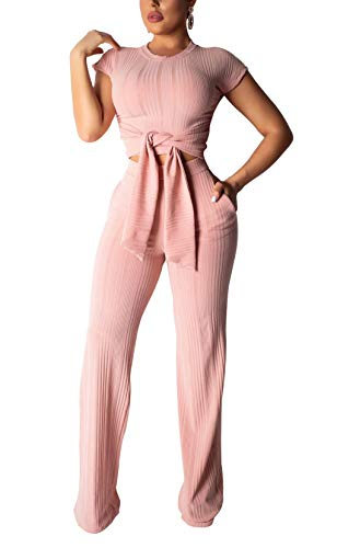LKOUS Women's Sexy Casual Two Piece Outfits Jumpsuit Romper Short Sleeves Crop Top Pants Set Pink ()