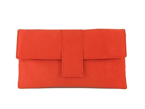 Bag Faux Shoulder Loni Orange Bag Womens Clutch Elegant Occasion Prom Bag Red Suede Chilli Wedding Party qXwfE1w
