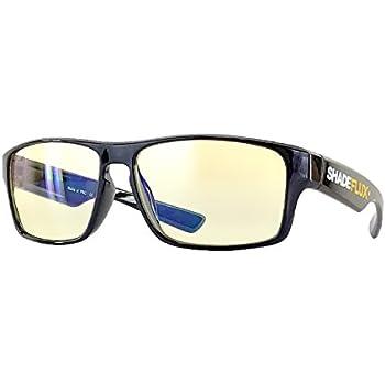 ShadeFlux™ USA Anti-Glare Computer Eye Strain Glasses for Screen Reading, Gaming and Office. Blue UV Light Blocking Yellow/Orange Tint and Large Lenses with Stylish Ergonomic Designer Frame