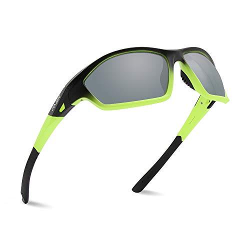 Grey Yellow Lenses Frame - JOJEN Polarized Sports Sunglasses for Men Women Running Cycling Fishing Hunting Golf Tr90 Ultralight Unbreakable Frame TAC Lens JE008(Black&Yellow Frame Grey Lens)