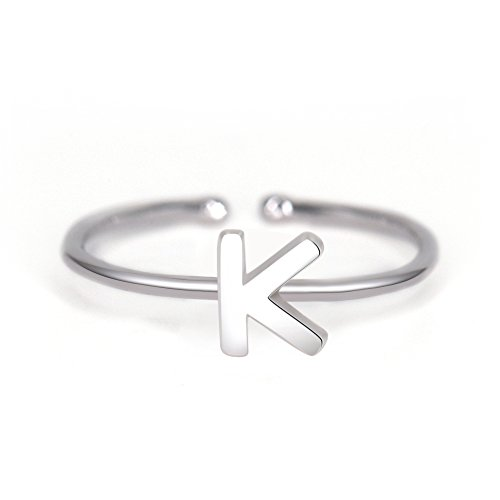 Rhohdium Plated Sterling Silver 925 Stackable Initial Ring Alphabet Letter Knuckle Rings Bridesmaid (Silver Matching Rings)