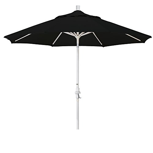 California Umbrella 9' Round Aluminum Market Umbrella, Crank Lift, Collar Tilt, Sand Pole, Sunbrella Black