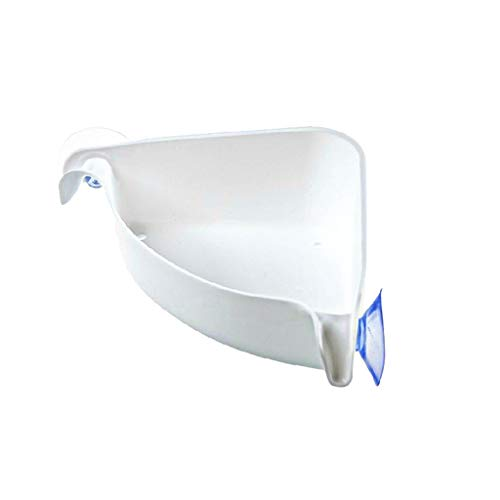 Plastic Bathroom Kitchen Triangle Corner Organizer Shower Shelf Suction Cup No Drilling Shelf Towel Toothpaste Toothbrush Shampoo Soap Lotion Organizer Holder Small Tool Storage Rack (White)
