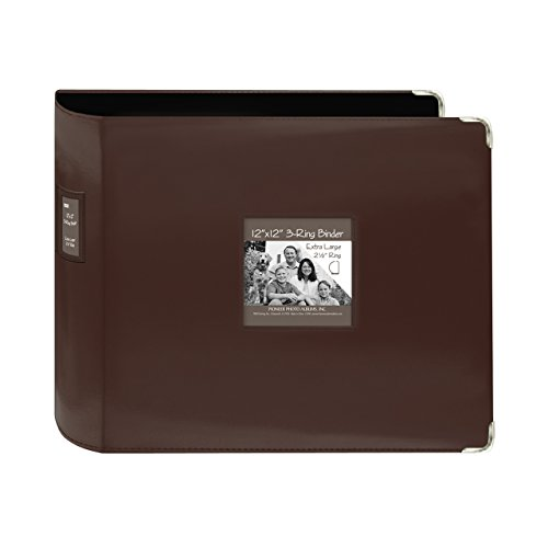 - Pioneer 12-Inch by 12-Inch Sewn Leatherette 3-Ring Binder, Brown