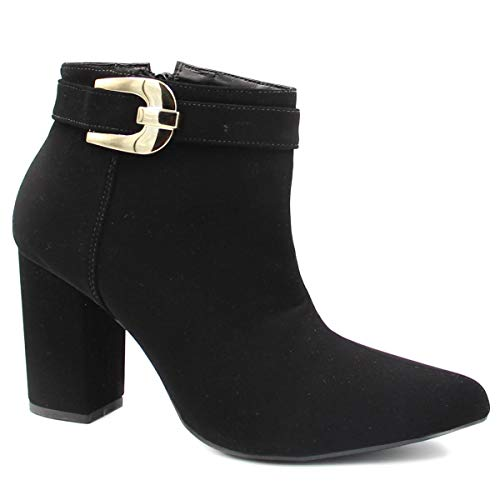 Bota Cano Curto Zariff Shoes Ankle Boot Salto Fivela