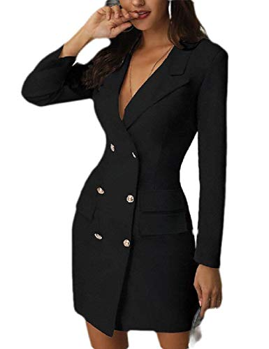 CRYYU Women Long Sleeve Lapel Blazer Dress Double Breasted Business Mini Dress Black US L