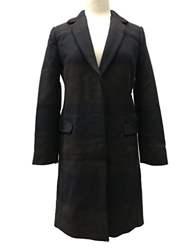 Coach Women's Striped Chesterfield Trench Wool Coat Jacket Navy/Brown 798 ()