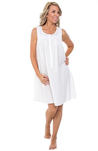 Alexander Del Rossa Womens 100% Cotton Lawn Nightgown, Sleeveless Scoop Neck Sleep Dress, X-Large White (A0592WHTXL)