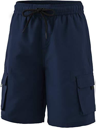 TSLA Boy's Swimtrunks Quick Dry Board Shorts Water Beach Board Shorts Bottom, Solid(bsb40) - Navy, X-Large ()