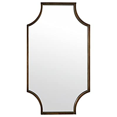 "Stone & Beam Antique-Style Metal Frame Mirror, 32""H, Brown - Straight lines are paired with graceful curves in this antique-style mirror. A double-layer black iron frame adds more vintage charm as well as a modern twist. This mirror will look right at home in a bedroom, hallway or living room. Antique-look finish with modern 3D design Glass, iron frame with black finish - bathroom-mirrors, bathroom-accessories, bathroom - 31r9pGSY6uL. SS400  -"