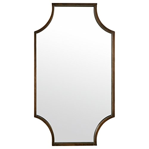 (Stone & Beam Antique-Style Metal Frame Hanging Wall Mirror Decor, 32 Inch Height, Brown)