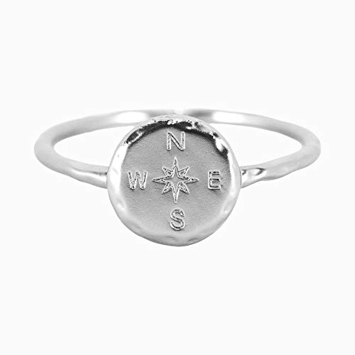 Pura Vida Silver Coated Compass Ring - Hammered Metal Brass Base .925 Sterling Silver - Size 6 from Pura Vida