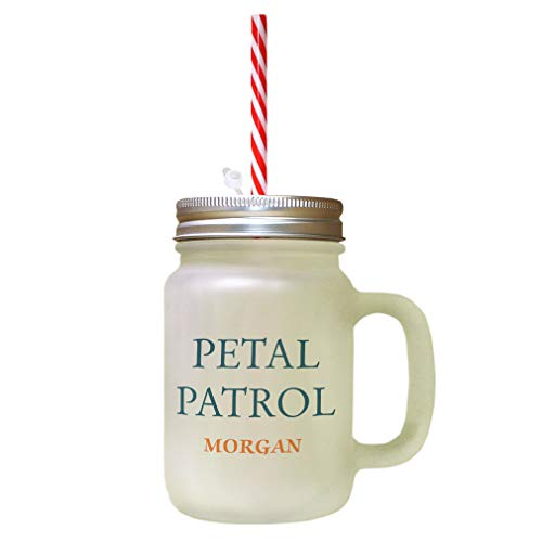 Personalized Custom Girly Petal Patrol Frosted Glass Mason Jar With Straw