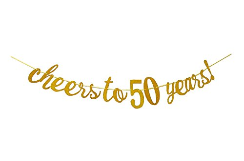 E&L Cheers to 50 Years Banner - Happy 50th Birthday Party Decorations - 50th Wedding Anniversary Decorations ()